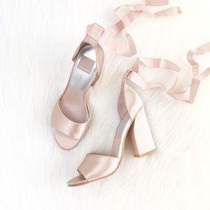 Dolce Vita | metallic rose blush satin wrap heels
